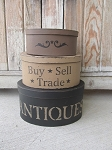 Primitive Antiques Buy Sell Trade Hand Painted Oval Set of 3 Stacking Boxes