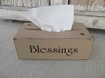 Primitive Khaki Tan Blessings with Stars Hand Painted Wooden Kleenex Tissue Box Cover