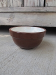 Antique Primitive Old Brown 5 Inch Stoneware Mixing Bowl with Cream Interior