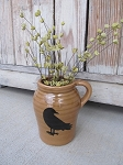 Primitive Stoneware Pottery Jug with Crow