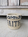 Primitive Stoneware Pottery Faith Low Crock