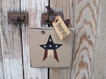 Primitive American Flag Star Hand Painted Sign Plaque