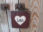 Primitive Valentine's Day Heart Sign Plaque in Burgundy with White Heart