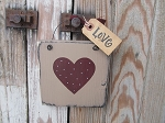 Primitive Valentine's Day Heart Sign Plaque in Khaki Tan with Burgundy Heart