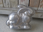 Vintage Standing Bunny Rabbit Aluminum Cake Mold Pan 2pc.