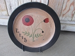 Primitive Poppy Single Stem Hand Painted Plate
