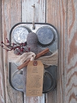 Primitive Antique Muffin Tin with Gingerbread Man-Style A