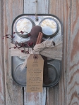 Primitive Antique Muffin Tin with Gingerbread Man-Style B