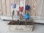 Primitive Shabby Chic Spring Time Antique Sewing Drawer Tulip Flower Arrangement