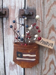 Primitive American Flag Rusty Tin Hanging Pocket with Berries