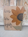 Primitive Sunflower Hand Painted Wooden Sign