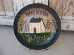 Primitive Saltbox and Willow Trees Hand Painted Personalized Plate