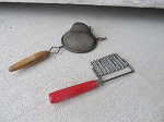 Antique Vintage Red Handled Krinkle Cutter and Strainer Set