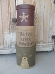 Primitive Catching Snowflakes Snowman Set of 3 Tall Round Stacking Boxes