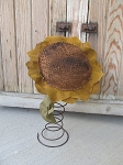 Primitive Large Hand Made Sunflower on Bed Spring