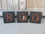 Primitive Halloween Boo with Ghost Wooden Block Set of 3