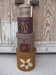Primitive Flower Garden Themed  Set of 4 Round Stack Boxes