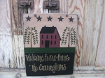 Primitive Burgundy Saltbox House with Willow Trees and Stars Personalized Wooden Sign