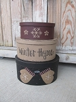 Primitive Winter Mittens and Snowflakes Set of 3 Oval Stacking Boxes