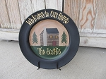 Primitive Northwoods Hand Painted Personalized Log Cabin Lodge Decorative Plate