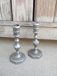 Primitive Colonial Pewter Candlestick Pair of 2
