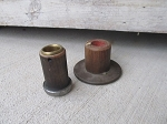 Antique Primitive Wooden Spool Bobbins Pair