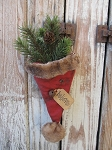 Primitive Country Christmas Believe Hanging Santa Hat with Greens