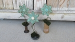 Primitive Country Cottage Aqua Chic Flowers on Base