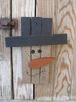 Primitive Country Rustic Winter Wooden Slat Snowman