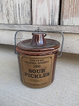 Primitive Brown Stoneware Grandpa Everett's Sour Pickles Crock