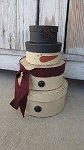 Primitive Stackable Snowman Set of 4 Round Stacking Boxes with Colored Scarf Options
