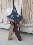 Primitive Americana Patriotic Stars and Stripes Chunky Wooden Star