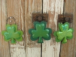 St Patrick's Day Glittered Shamrock Clover Wood Ornaments Set of 3