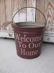 Primitive Vintage Welcome to Our Home Pail with Burlap Tie