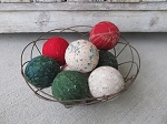 Primitive Hand Wrapped Christmas Red Green White Set of 9 Rag Balls