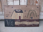Primitive We the People Saltbox Hand Painted Sign
