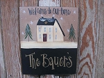 Primitive Hand Painted Personalized Winter House Sign