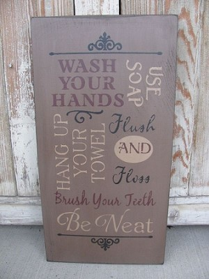 Primitive Bathroom Rules Typography Subway Tile Sign