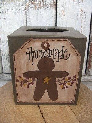Primitive Country Gingerbread Tissue Box Cover