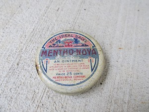 Antique Vintage Mentho-Noya Ointment Tin Bathroom Decor