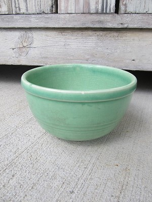 Antique Vintage Mint Green USA Stoneware 5 Inch Mixing Bowl