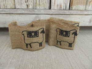 Primitive Sheep Burlap Ribbon Garland