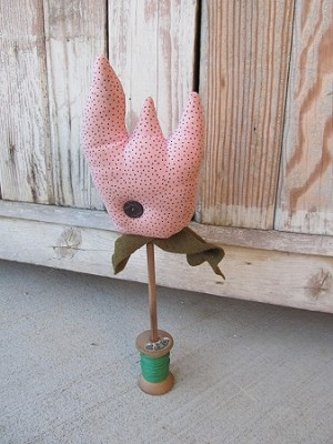 Primitive Spring Time Pink Tulip on Spool Make Do