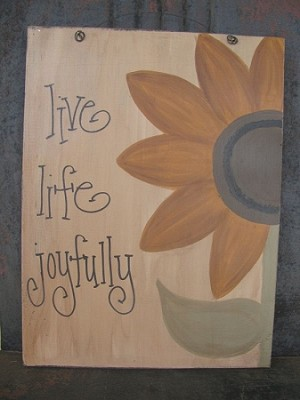 Primitive Sunflower Hand Painted Sign