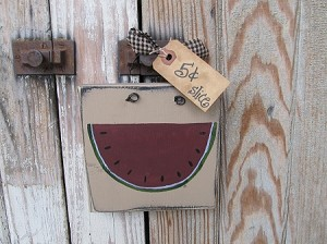 Primitive Summer Watermelon Slice Hand Painted Sign Plaque