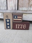 Primitive Americana 1776 Firecracker and Flag Set of 3 Stacking Blocks