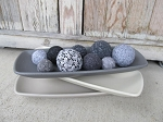 Farmhouse Primitive Shades of Grey Rectangle Bowl Filler Box Tray