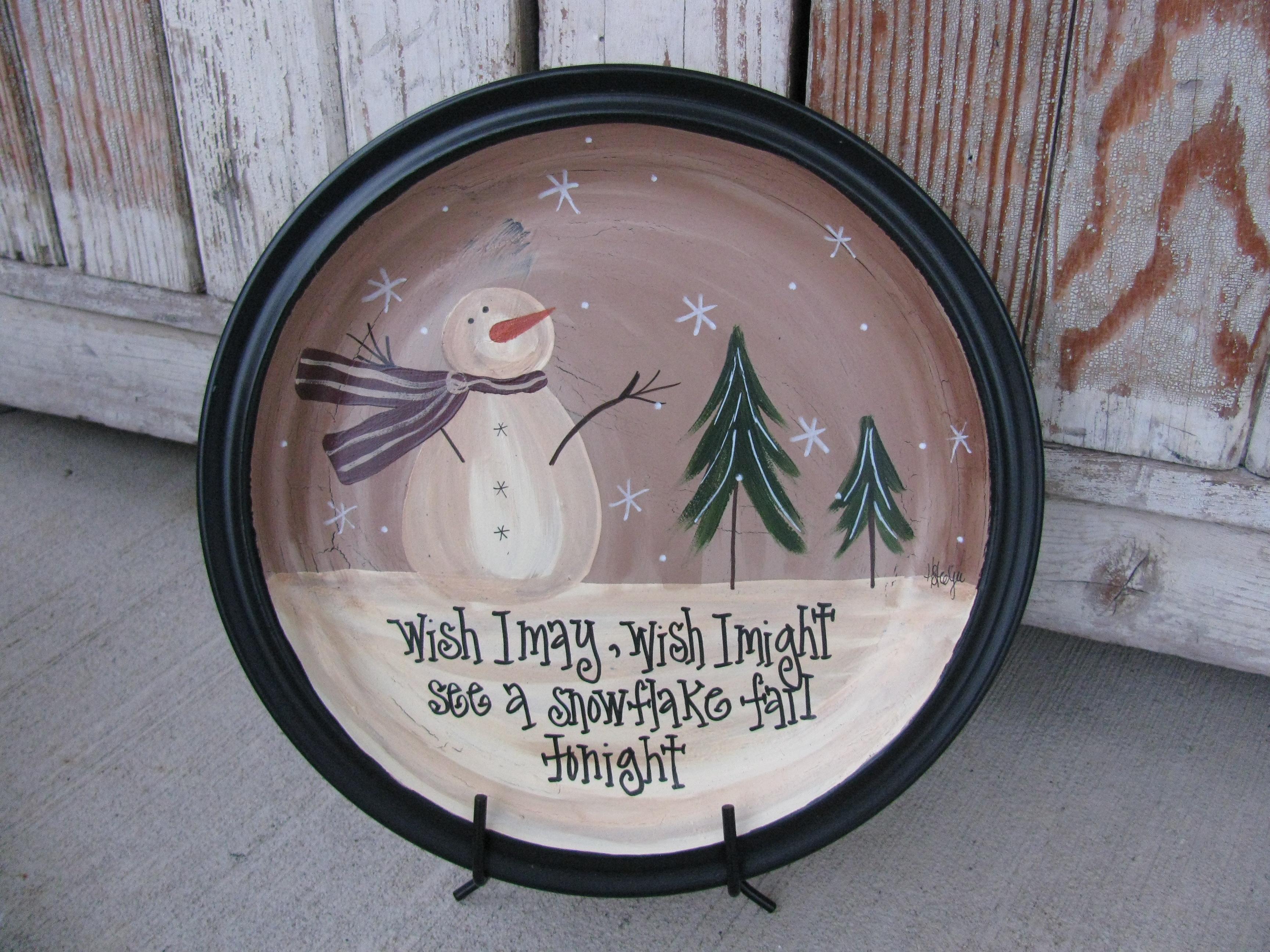 """PRIMITIVE WOODEN """"SNOWMAN"""" Plate"""