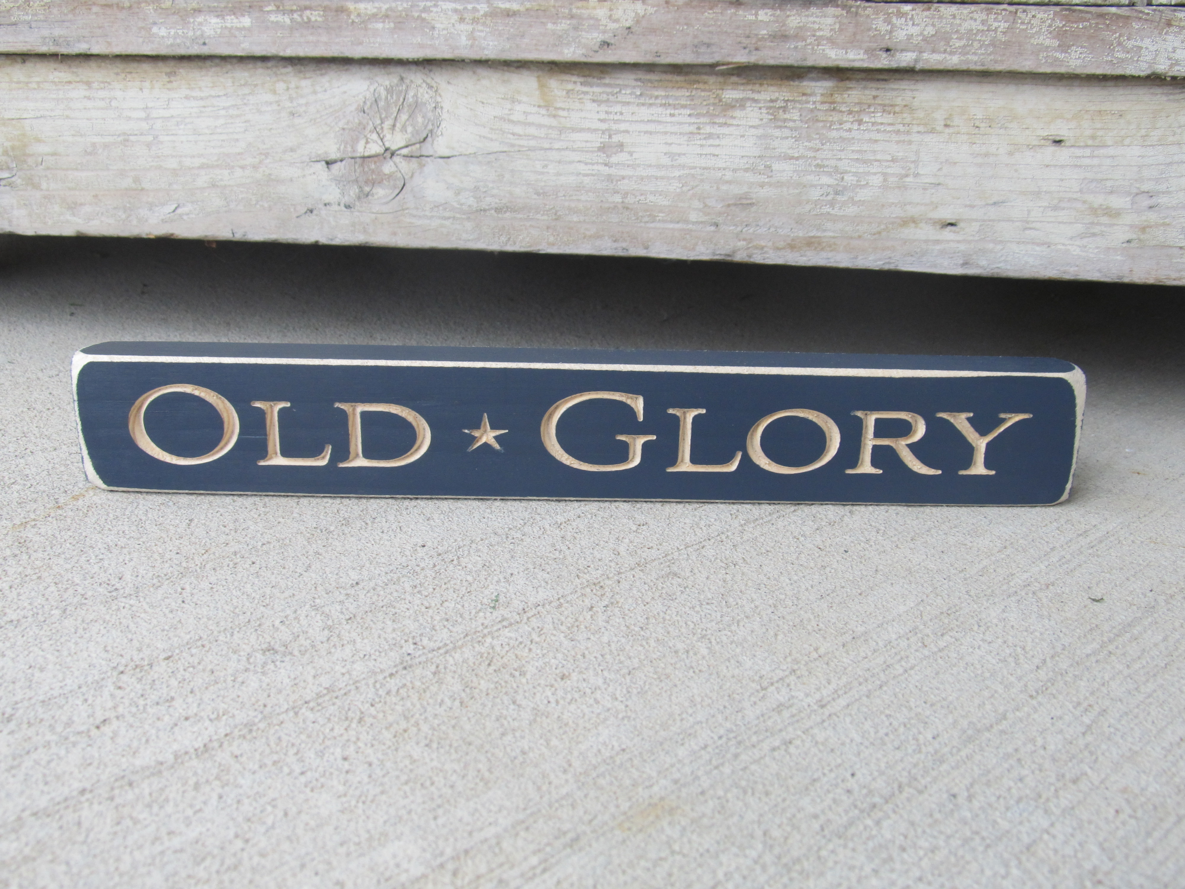 Primitive Americana Patriotic Old Glory Engraved Sign Block