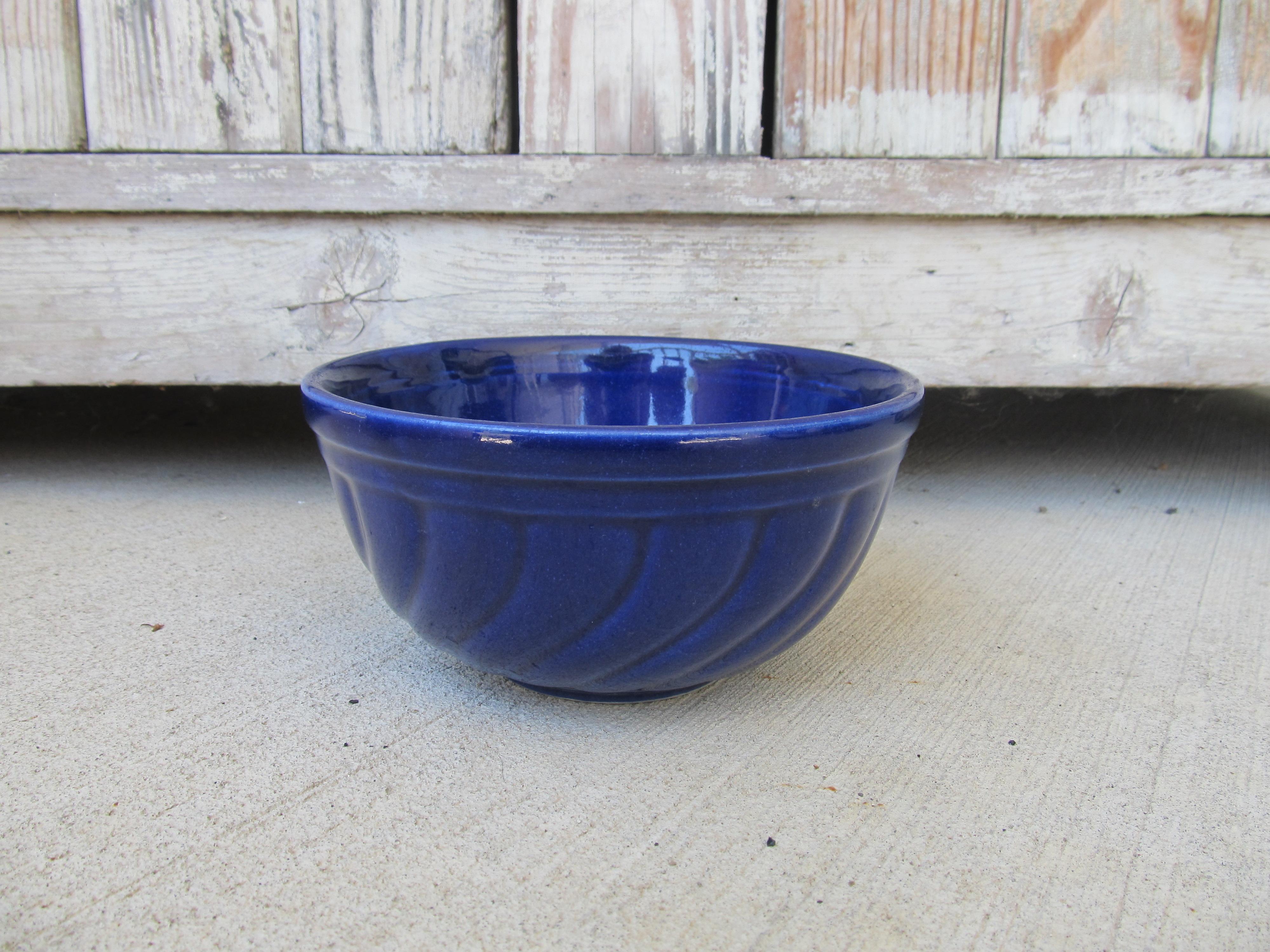 Nautical Home Decor Antique Vintage Cobalt Blue Stoneware Mixing Bowl